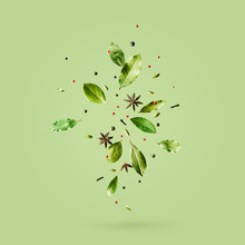 Creative Mockup With Flying Various Types Of Spices Bay Leaf, Red Pepper, Anise On Green Background With Copy Space.