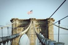 American Flag On Brooklyn Bridge