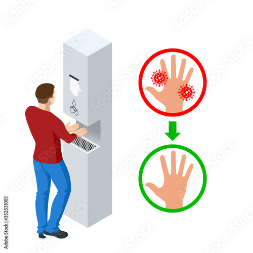 Obraz Isometric automatic alcohol hand sanitizer dispenser protection coronavirus Covid-19. Rubbing alcohol, wall mounted soap dispenser, wall hanging hand wash container Covid-19 spread prevention. - fototapety do salonu