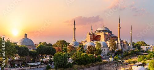 Valokuvatapetti Hagia Sophia, famous landmark of Istanbul, beautiful sunset view, Turkey