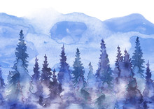 Watercolor Group Of Trees - Fi...