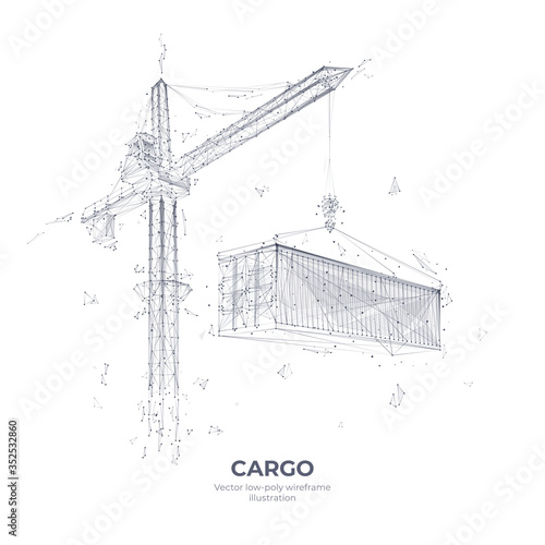 Fotografie, Obraz Abstract illustration of crane and cargo container