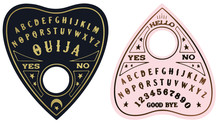 Ouija Planchette With Eye Of Providence Line Art, Vector Illustration Isolated On White. Sketch Style Hand Drawn. Element For Halloween Or Pagan Witchcraft Theme.