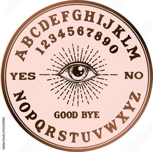 Fotografie, Obraz Ouija planchette with eye of providence line art, vector illustration isolated on white