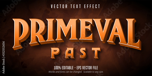 Valokuva Primeval past text, primitive style editable text effect
