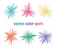 Set Of Color Editable Sharp Spots. Bright Color Crystal Circles. Summer Icons Abstract Shapes