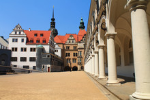 DRESDEN, GERMANY - 26 AUGUST 2012: View Of Stables Courtyard Toward Chancellery Building, George Gate And Hausmannsturm Tower Of Dresden Castle, Saxony, Germany.