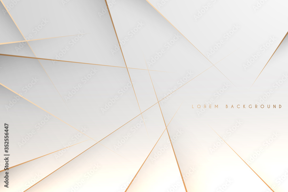 Fototapeta Abstract simple white background with gold lines