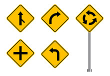 Traffic Road Sign Set, Street Signs, Yellow Isolated On White Background, Vector Illustration.