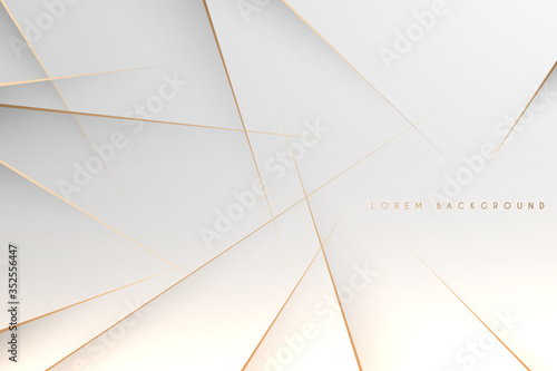 Fototapeta Abstract simple white background with gold lines obraz