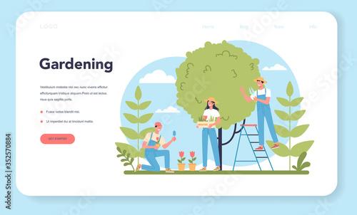 Fototapeta Gardening web banner or landing page. Idea of horticultural designer obraz