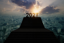 Silhouette Of New Year 2021, H...