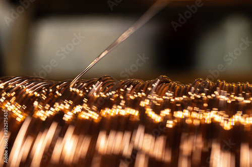 Tablou Canvas Production of copper wire, cable in reels at factory