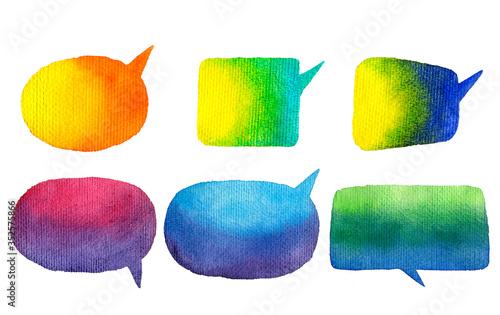 Fotografie, Obraz Speak bubbles watercolor icons set raster.