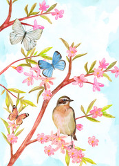 Fototapeta Drzewa clever bird sitting on branch of stylized spring tree with pink flowers and leaves. greeting card with blooming wild almond and butterflies. watercolor painting