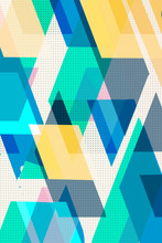 Colorful Geometric. Cubes And Triangles Lined Stripy, Cover Swiss Modernism. Turquoise Blue And Yellow Texture, Abstract Pattern Shapes Concept