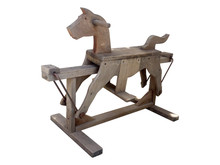 Ancient And Old Horse Wood Machine. Rocking And Riding Wood Isolated On White Background With Clipping Path