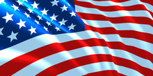 American Flag  Waving. Background For Patriotic And National Design. Vector Illustration