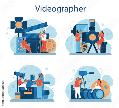 Obraz Video production or videographer concept set. Movie and cinema - fototapety do salonu