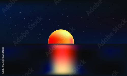 Obraz Summer sunrise or sunset background. Vector design for print or web - fototapety do salonu