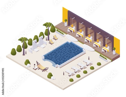 Fototapeta Isometric pool near the restaurant at beach resort with sunbeds, outdoor shower,