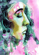 Abstract Watercolor Woman Port...