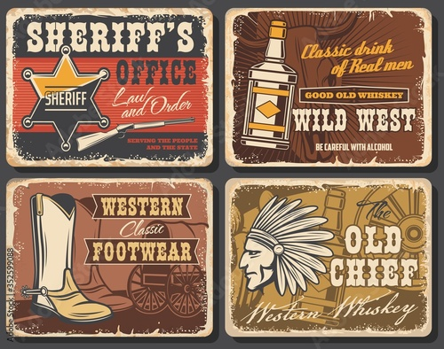 Wild west retro posters set, vector grunge cards with sheriff star, whiskey bottle, cowboy shoes and Indian warrior with plumage feather headdress Tablou Canvas