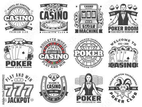 Casino gambling games isolated vector icons set Fototapet