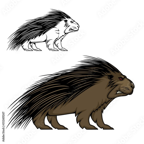 Obraz Porcupine or hedgehog vector mascot animal. Wild forest mammal with sharp spines or quills, brown fur, red eyes and angry grin. Predatory rodent sport team label or hunter club, porcupine emblem - fototapety do salonu