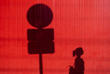 Lady Silhouette On Red Wall Wi...
