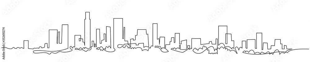 Fototapeta Modern cityscape continuous one line vector drawing. Metropolis architecture panoramic landscape. New York skyscrapers hand drawn silhouette. Apartment buildings isolated minimalistic illustration