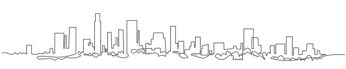 Modern cityscape continuous one line vector drawing. Metropolis architecture panoramic landscape. New York skyscrapers hand drawn silhouette. Apartment buildings isolated minimalistic illustration