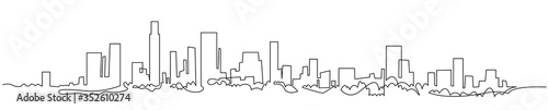 Modern cityscape continuous one line vector drawing. Metropolis architecture panoramic landscape. New York skyscrapers hand drawn silhouette. Apartment buildings isolated minimalistic illustration #352610274