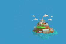 3D Illustrator Alcatraz Island In  USA. 3d Rendering Low Polygon Geometry Background. Abstract Polygonal Geometric Shape. Lowpoly Minimal Style Art.