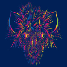 Abstract Shaggy Head Of A Wolf And A Mythical Animal With Big Ears Of Pink And Green And Yellow And Red Colors On A Blue Background