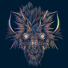 Abstract Shaggy Head Of A Wolf And A Mythical Animal With Large Ears Of Pink And Green And Yellow On A Dark Blue Background