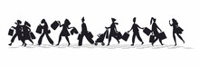 Silhouettes Of Women With Handbags. A Set Of Black Silhouettes Of Young Girls. Buyers Are Isolated On A White Background. Vector Illustration. Girls Are In A Hurry To Shop