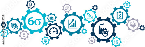 lean management vector illustration. Concept with connected icons related to six sigma or lean manufacturing process and performance improvement methods.