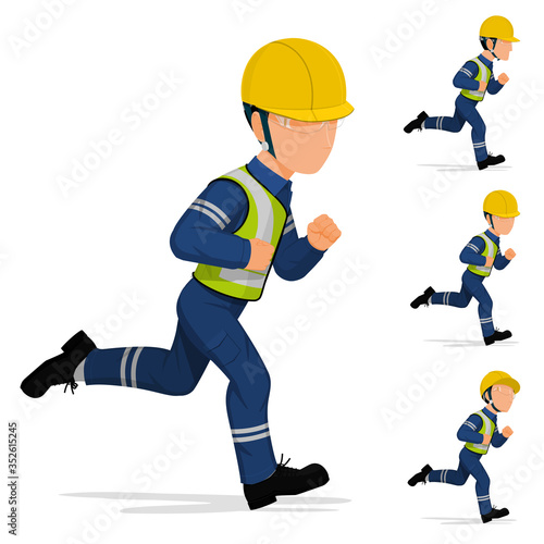 Obraz An industrial worker is running on white background - fototapety do salonu