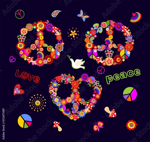 Funny colorful Peace Hippie Symbols set with flower-power, fly agaric, paisley, Wallpaper Mural