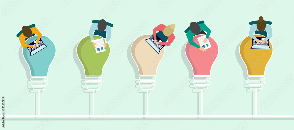 Fototapeta Top view of office employees working at tables shaped as light bulbs, vector illustration in flat style