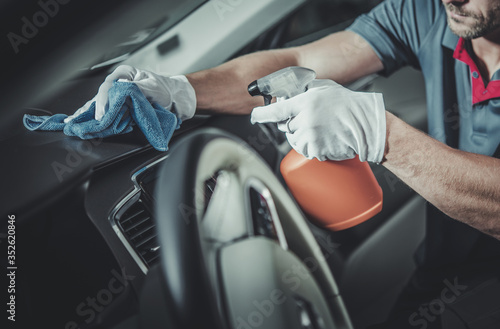 Obraz Car Interior Dashboard and Cockpit Disinfection and Cleaning - fototapety do salonu