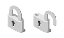 Isometric Lock And Unlock Vector Icon.