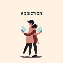 Internet Addiction. Millennial Couple Staring Into Smartphones While Hugging, Vector Illustration In Flat Style