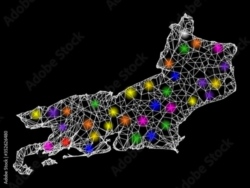 Web mesh vector map of Rio de Janeiro State with glare effect on a black background Wallpaper Mural
