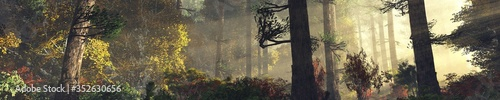 Forest in the fog in autumn, morning in the autumn forest, trees in the haze, trees in the sunlight, 3D rendering