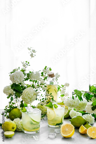 Summer composition. The table is strewn with garden flowers. Hydrangeas, jasmine, daisies in the morning sun. Fresh citrus lemonade is poured into glasses. Ice is scattered on the table. it melts, cre
