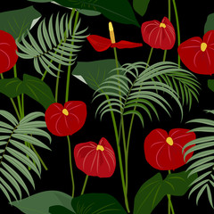 Fototapeta Egzotyczne Vector tropical jungle seamless pattern with palm trees leaves and flowers anthurium