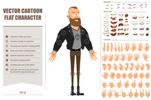 Cartoon Flat Bearded Punk Hooligan With Mohawk In Leather Jacket. Ready For Animation. Face Expressions, Eyes, Brows, Mouth And Hands Easy To Edit. Isolated On White Background. Big Vector Icon Set.