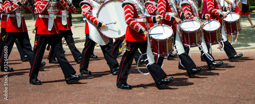 Queen's Guards marching with drums Wallpaper Mural